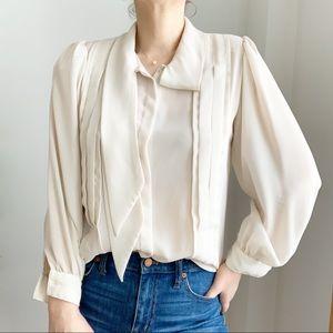 Vintage Bow Collar Cream Silky Blouse Size M